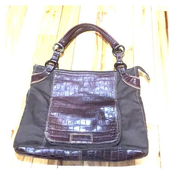 191bea059 tomboy wiz Bags | Dark Brown Leather Nylon Hobo | Poshmark